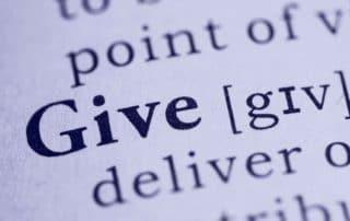 Spenden geben teilen etwas abgeben